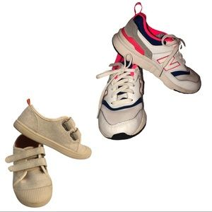 Two Pairs of Little Girl Sneakers New Balance etc